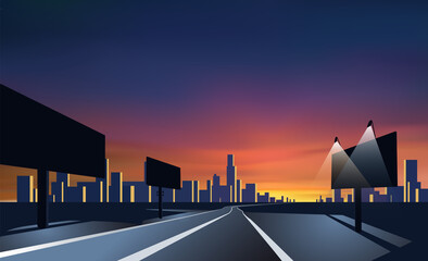 City landscape perspective. Road with bill boards. Colorful sunset. Fotomurales