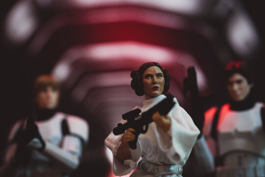 NEW YORK USA, JAN 20 2021: recreation of scene from Star Wars A New Hope with Princess Leia jailbreak on the Death Star  - Hasbro action figure