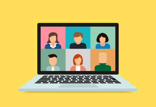 Stay and work from home. Video conference chat illustration. Stream, web chatting, meeting friends online. Workplace, laptop screen, group of people talking by internet. Video communication