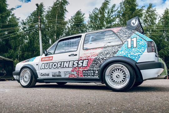 Moscow, Russia - July 06, 2019: White Golf 2 powerfully tuned for racing with a roll cage, an aerodynamic spoiler, an understated car with custom BBS wheels. Rally