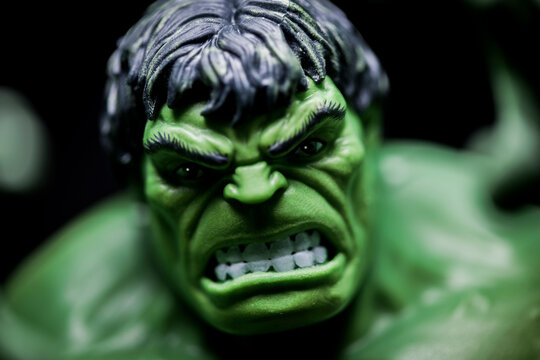 NEW YORK USA, JAN 20 2021: portrait of Marvel Legends Incredible Hulk enraged - Hasbro action figure