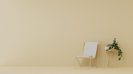 Obraz Beach Chair And Potted Plant On Table In Light Brown Livingroom - fototapety do salonu