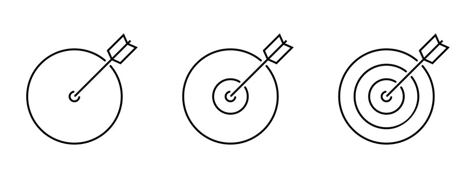 Linear targets with arrow icon set. Purpose business concept. Success concept. Business icon. Bullseye ico set. Success concept. Vector gaphic.