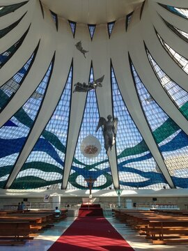 Benches In Cathedral Of Brasilia