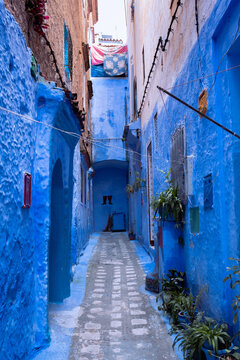 Vertical shot of typical traditional Maroccan architectural details in Chefchaouen or Chaouen
