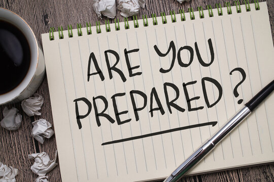 Are you prepared, text words typography written on book against wooden background, life and business motivational inspirational