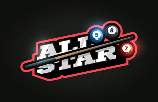 All Star Modern professional Typography billiard sport retro style vector emblem and template logo design. Funny greetings for clothes, card, badge, icon, postcard, banner, tag, stickers, print.