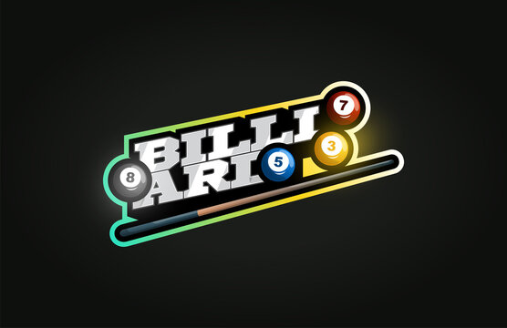 Billiard mascot Modern professional sport Typography in retro style. Vector design emblem, badge and sporty template logo design.