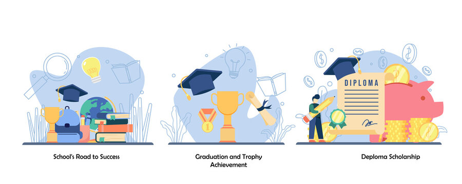 schooling, academic achievement, reward icon set. School road to success, graduation and trophy achievement, deploma scholarship.Vector flat design isolated concept metaphor illustrations
