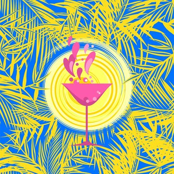 Summer cocktail beach party invitation, flyer or poster template with yellow coconut and fan-leaved palm trees, exotic leaves, sun and martini wineglass