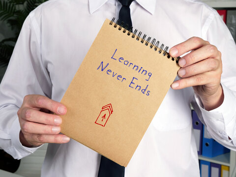 Business concept about Learning Never Ends V with inscription on the page.