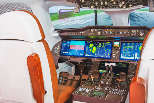 Cockpit of a passenger airliner for simulation and training of future pilots.