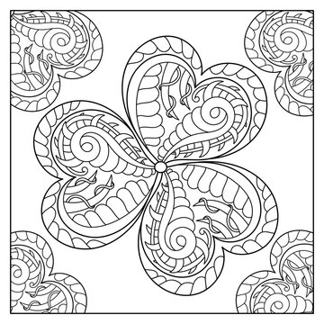 Coloring Book Page. Monochrome Doodle St Patrick's Day Pattern. Decorative hand drawn Clover Leaf