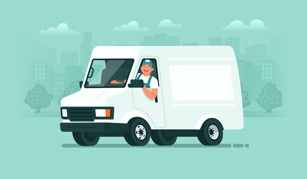 Delivery service. A male driver in uniform rides in a van against the backdrop of the city. Carrier