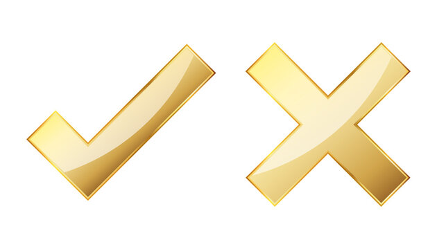 Check and cross icon. Gold approved and reject symbols