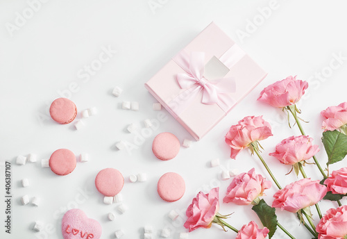 Valentine's day greeting card. Flowers and gifts boxes on white background. Happy birthday and mother's day template.