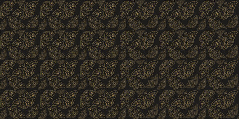 Decorative background pattern. Ornament with gold butterflies on a black background. Seamless wallpaper texture. Vector graphics