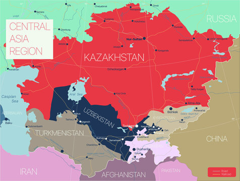 Central Asia region detailed editable map with regions cities and towns, roads and railways. Vector EPS-10 file