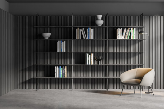 Gray and wooden living room with armchair and bookcase