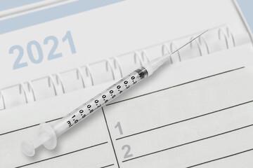Calendar Vaccination background 2021 close up