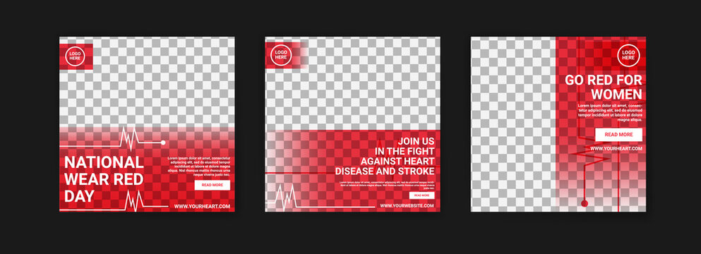 Social media post template for national wear red day. National awareness campaign for women about heart disease.
