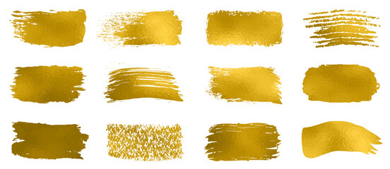 Collection of gold paint, brush strokes – for stock