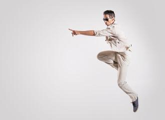 Portrait of a talented dancer making a dance move