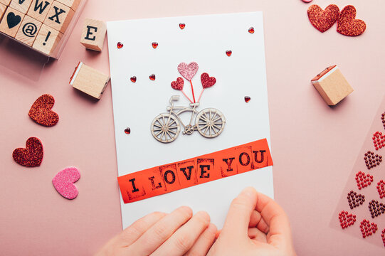 DIY ideas and step by step instructions for making Valentines Card with words I love you, how to make handmade card for beginners