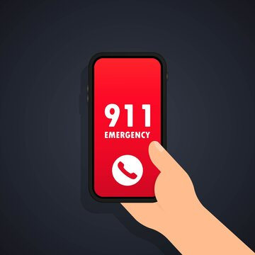 Call 911 icon. Emergency call concept. Hand holding smartphone, finger touching call button call 911. Vector flat design. Mobile phone. Finger touch screen. First aid. Vector illustration.