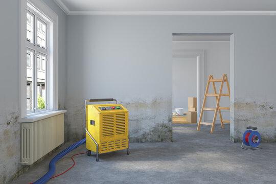 3d Illustration - leere, freie skandinavische Wohnung - Wasserschaden - Bautrockner - renovieren - sanieren - vorrichten - Versicherung