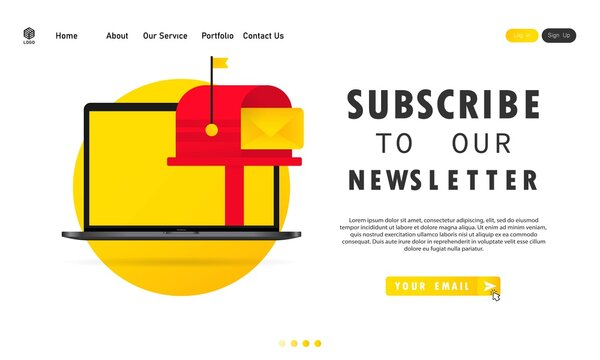 Subscribe to our newsletter banner. With text box and subscribe button template. Vector on isolated white background. EPS 10