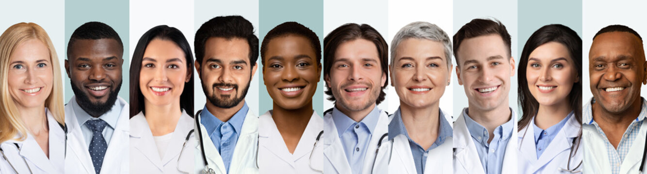 Collage Of Multiethnic Doctors And Medical Workers Portraits, Gray Backgrounds