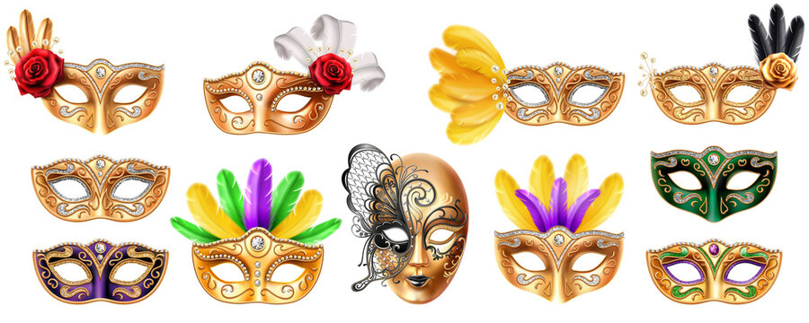 Set of isolated mask for Mardi Gras carnival. Colombina and volto masque for masquerade festival. Face and eyes disguise with diamond and feather, rose flower. Opera and theater costume element