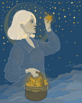 beautiful girl hovers in the clouds of the sky, and collects stars