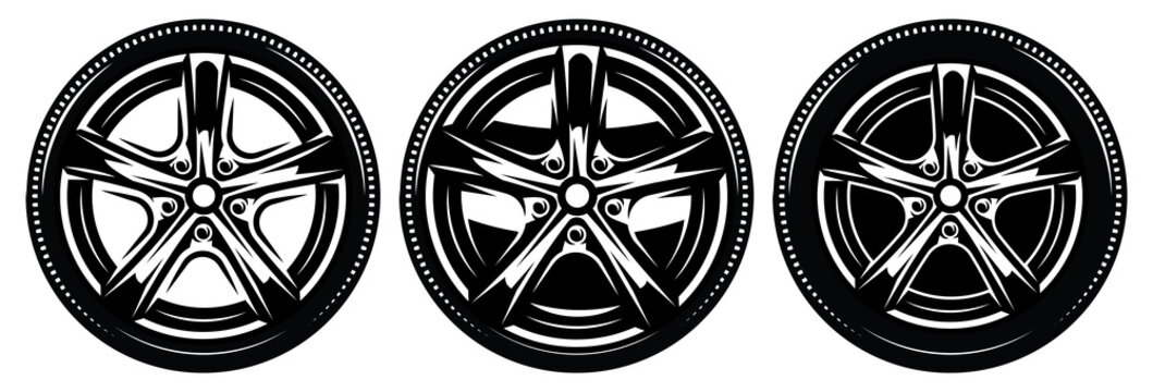 Car metal rim with tire. Set of vector illustrations. Template for logo design, corporate style, business card, poster, website