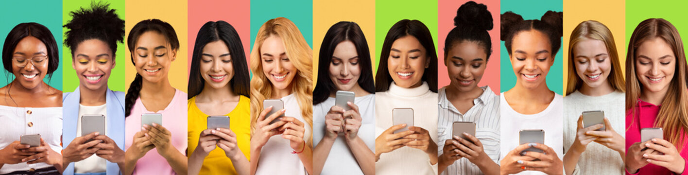 Diverse Women Using Mobile Phones Texting On Colorful Backgrounds, Collage