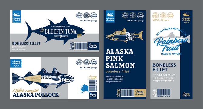 Vector fish horizontal and vertical labels and packaging design concepts. Salmon, trout, tuna, and alaska pollock fish illustrations. Flat style seafood labels