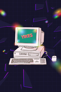 Dazzling retro vintage PC system with computer peripherals crt monitor and Yikes word on screen, floppy disk, keyboard and mouse, with rgb light leak flare reflectionm 90s inspiration illustration