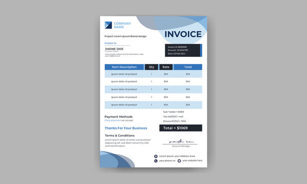 Invoice template, billing template for business, invoice layout, minimal design