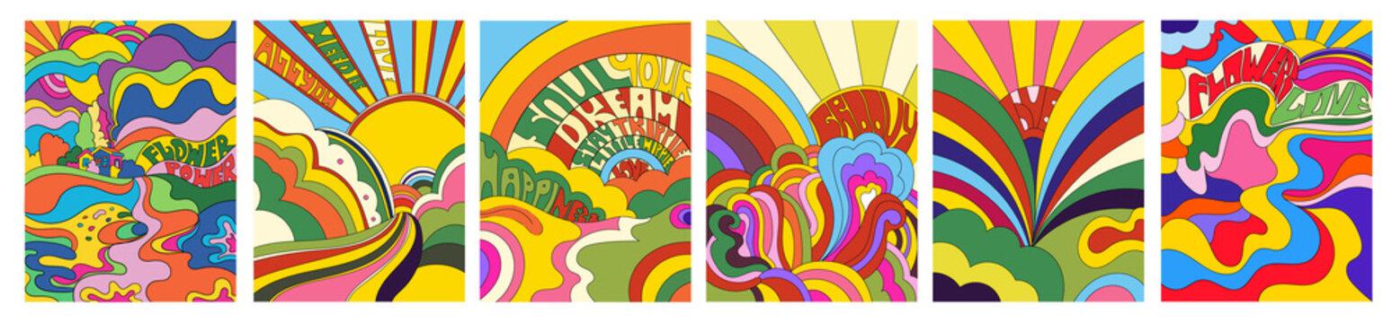 Set of six vivid psychedelic landscapes