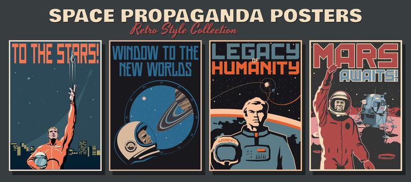 Space Propaganda Posters, Retro Style Collection, Astronauts and Space Ships, Mars, Saturn, Earth Retro Future Technologies