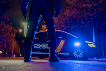 police checks at night during confinement Fotomurales