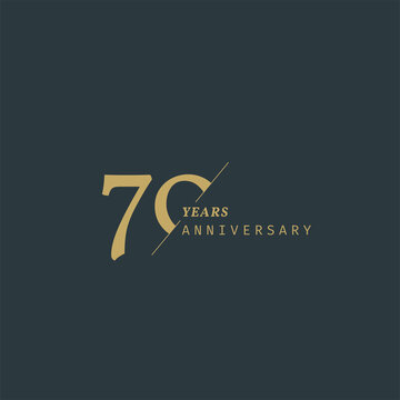 70 years anniversary logotype with modern minimalism style. Vector Template Design Illustration.