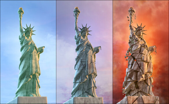The Statue of Liberty, stages of destruction. Symbol of US problems: USA democracy crisis, United States of America presidential election protests, coronavirus pandemic, economy conflicts 3D image set