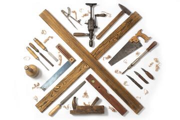 Sammlung alter Werkzeuge zur Holzbearbeitung, holzhandwerk Konzept