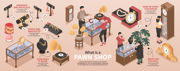 Pawn Shop Isometric Infographics