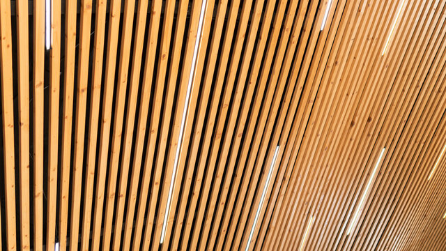 Close-up on a ceiling made of wooden planks with LED strip lamps. The texture of wooden boards. Idea for a wooden plank ceiling design for a loft-style interior.