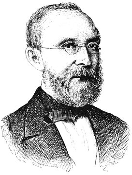 Portrait of Rudolf Ludwig Carl Virchow - a German physician, anthropologist, pathologist, prehistorian, biologist, writer, editor, and politician. Illustration of the 19th century. White background.