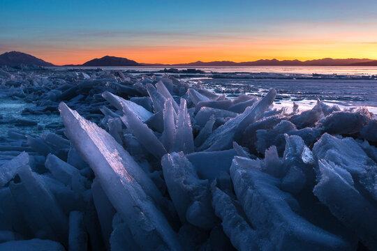 Frozen Lake Ice Sunset