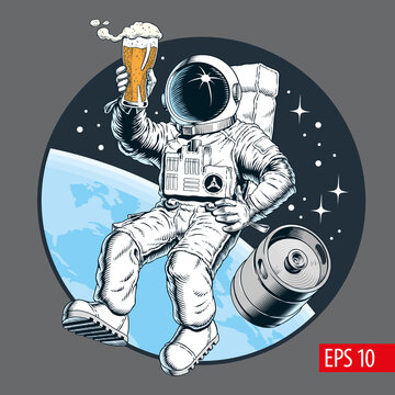 Astronaut holding a beer pint and beer keg in outer space. Vector illustration.